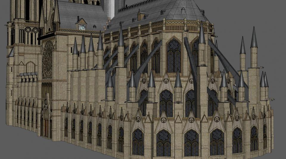 cathédrale notre dame de paris 3d turbosquid