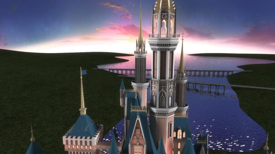 Cinderella Castle lake 3d model