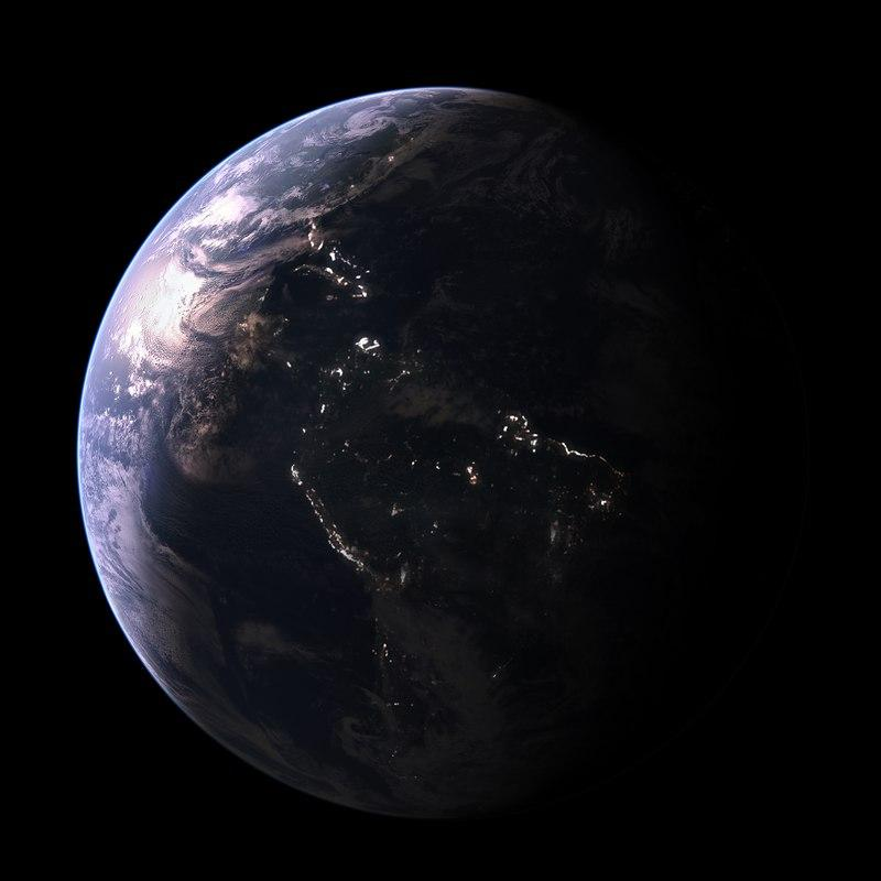 earth with lights 3d model turbosquid