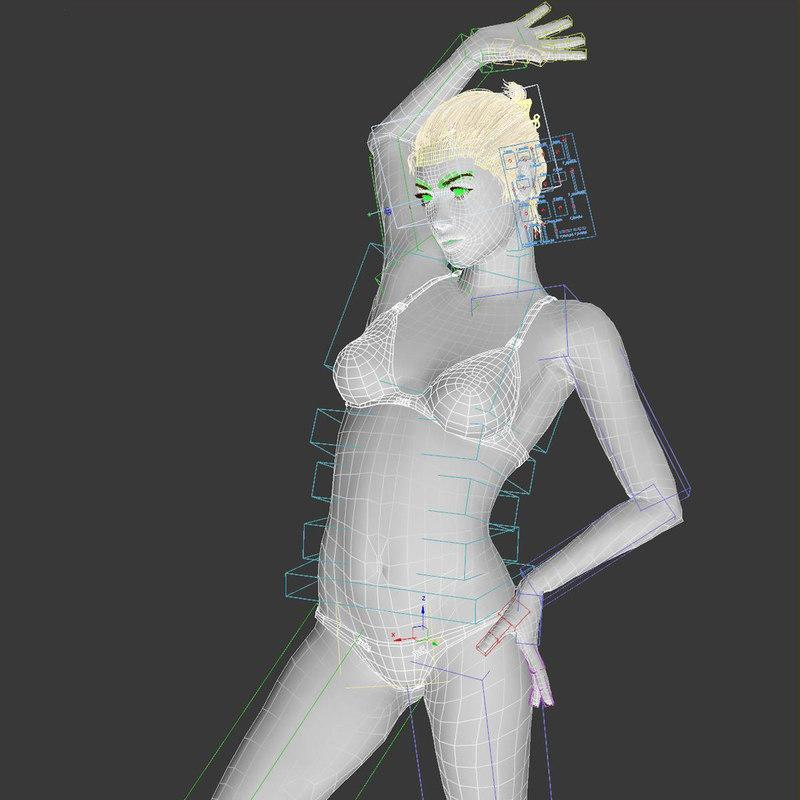 3d model of a woman full body rigged