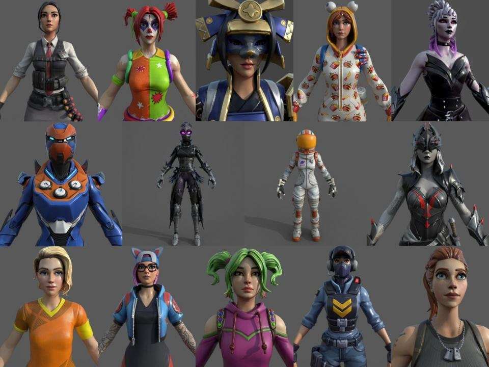 fortnite female characters 3d models turbosquid