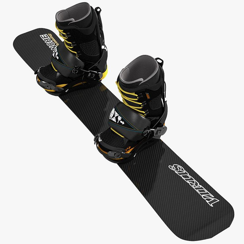 freeboard and softboots snowboard 3d model turbosquid
