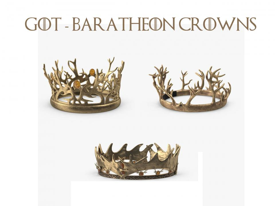 3 baratheon crowns 3d models got turbosquid