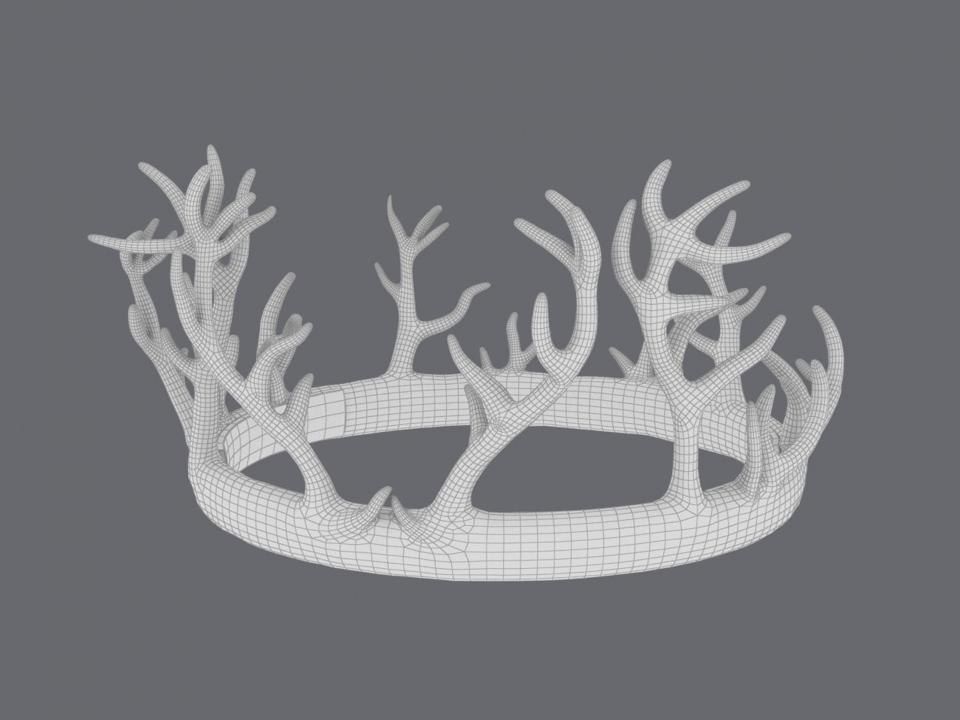 wireframe of renly baratheon crown 3d model turbosquid