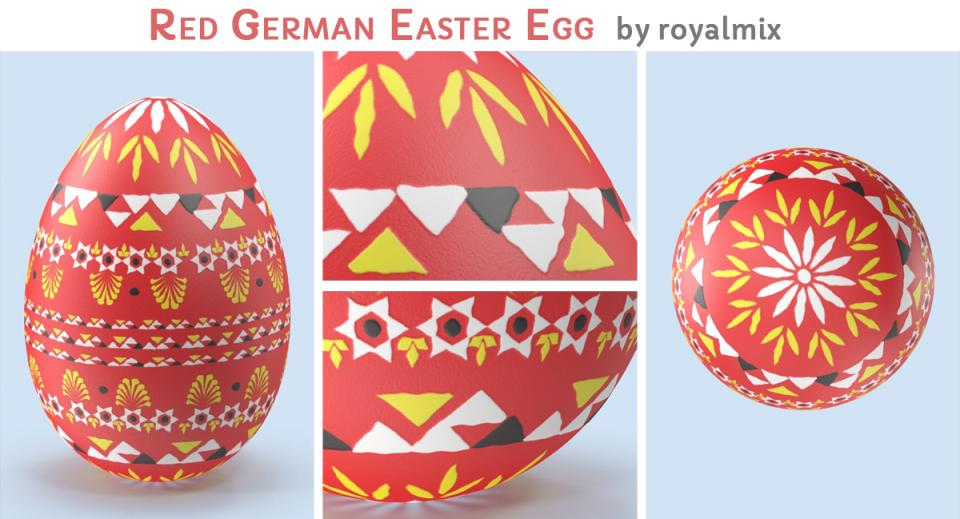 red German Easter egg 3d model turbosquid