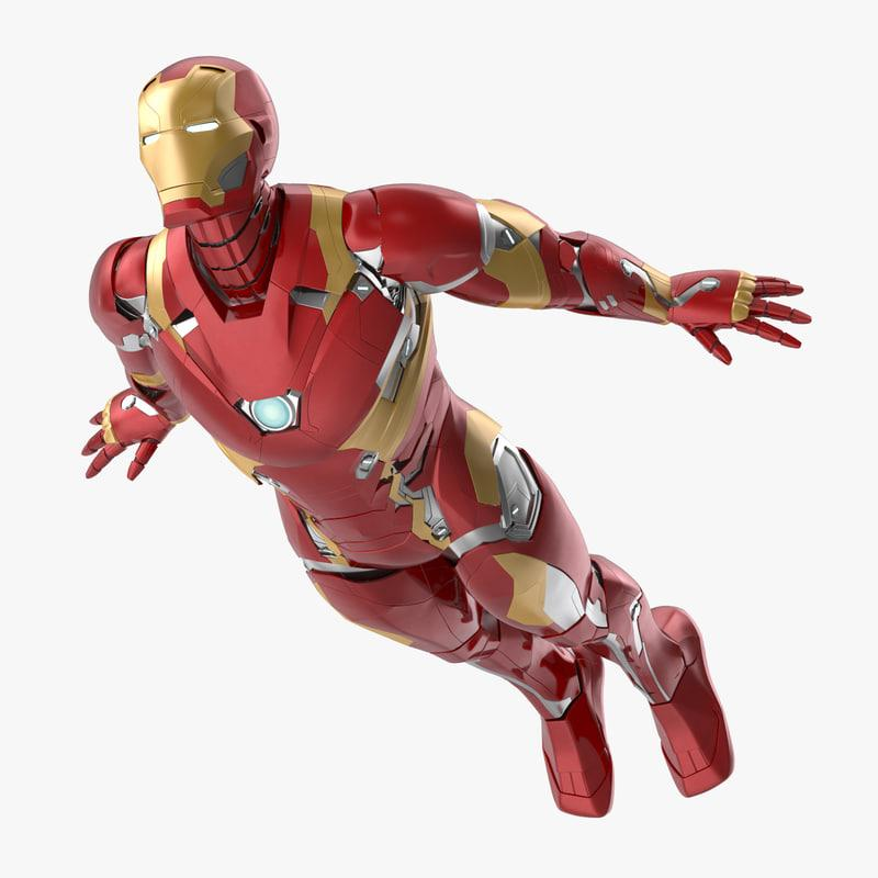 flying pose iron man 3d model turbosquid