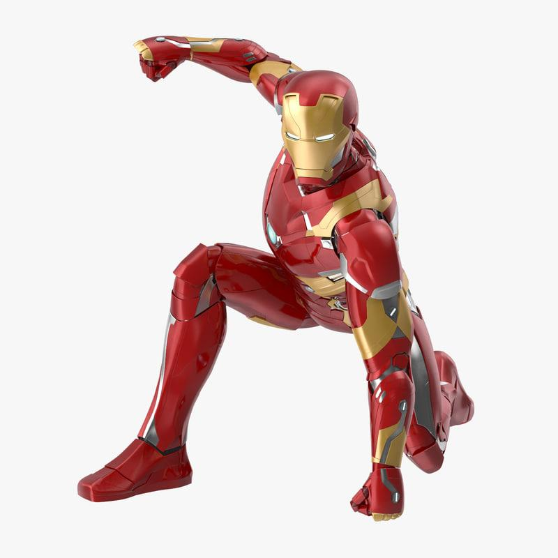 landing pose iron man 3d model turbosquid