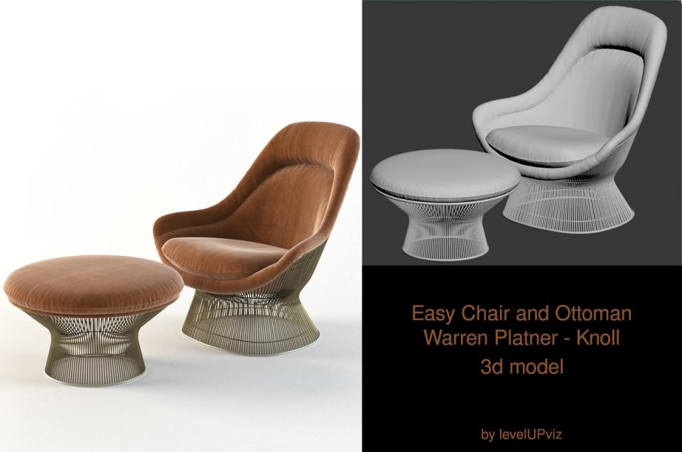 Warren Platner chair and ottoman 3d model turbosquid
