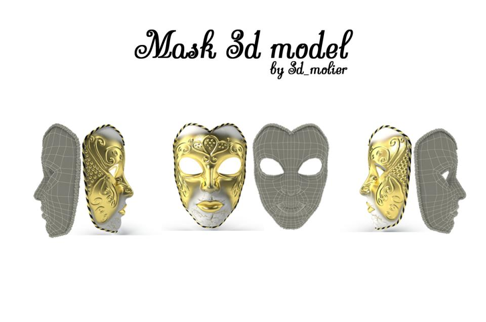 mardi gras mask 3d model turbosquid