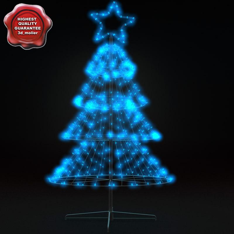 blue christmas lights 3d model tree turbosquid