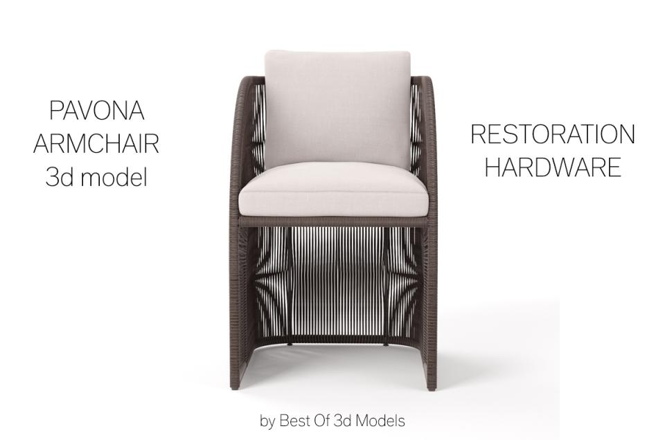 pavona armchair restoration hardware 3d model