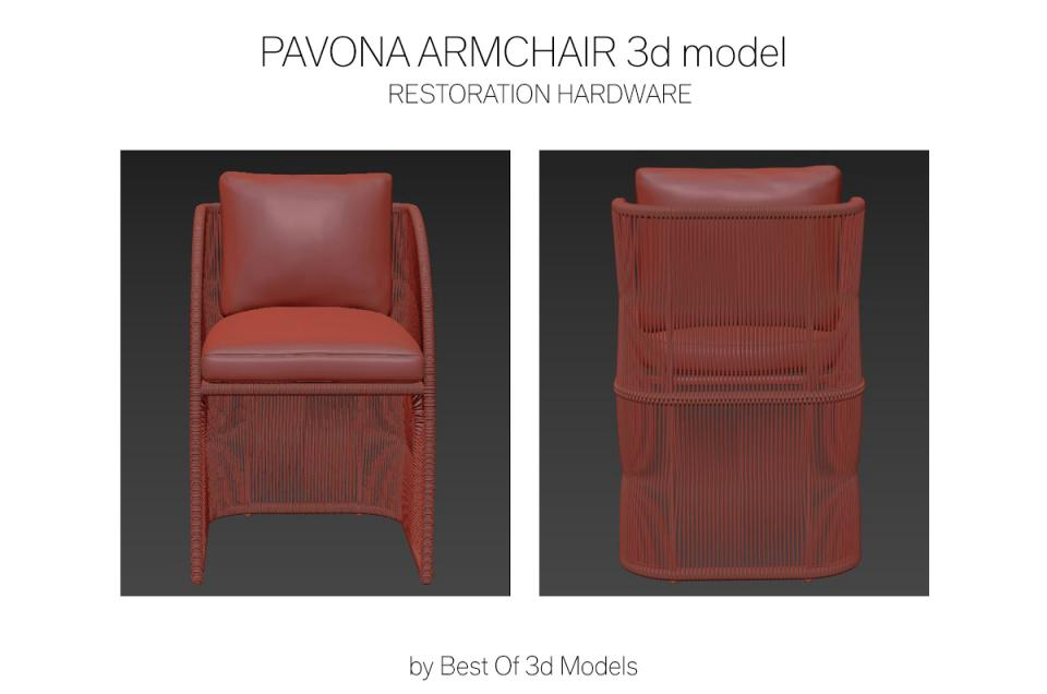 outdoor armchair with curved back 3d model rh
