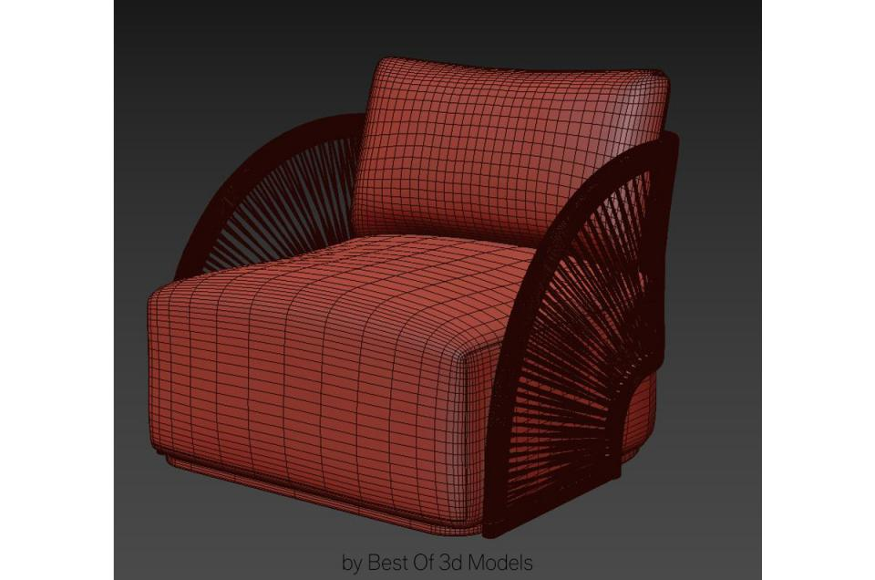 rattan lounge chair 3d model restoration hardware