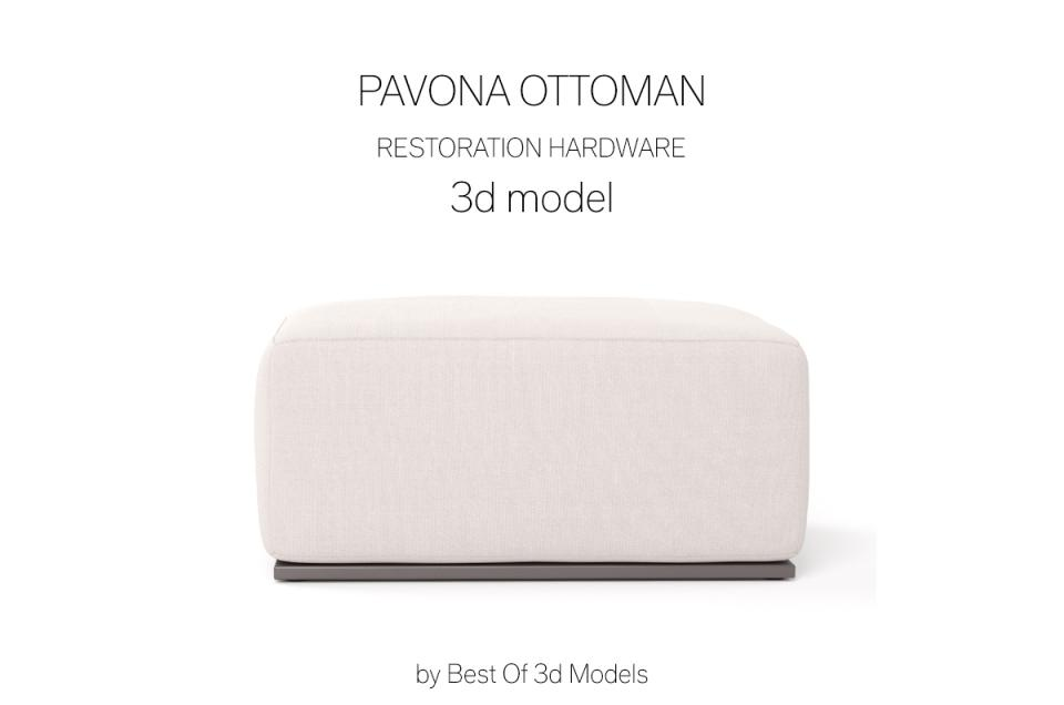 pavona ottoman 3d model restoration hardware