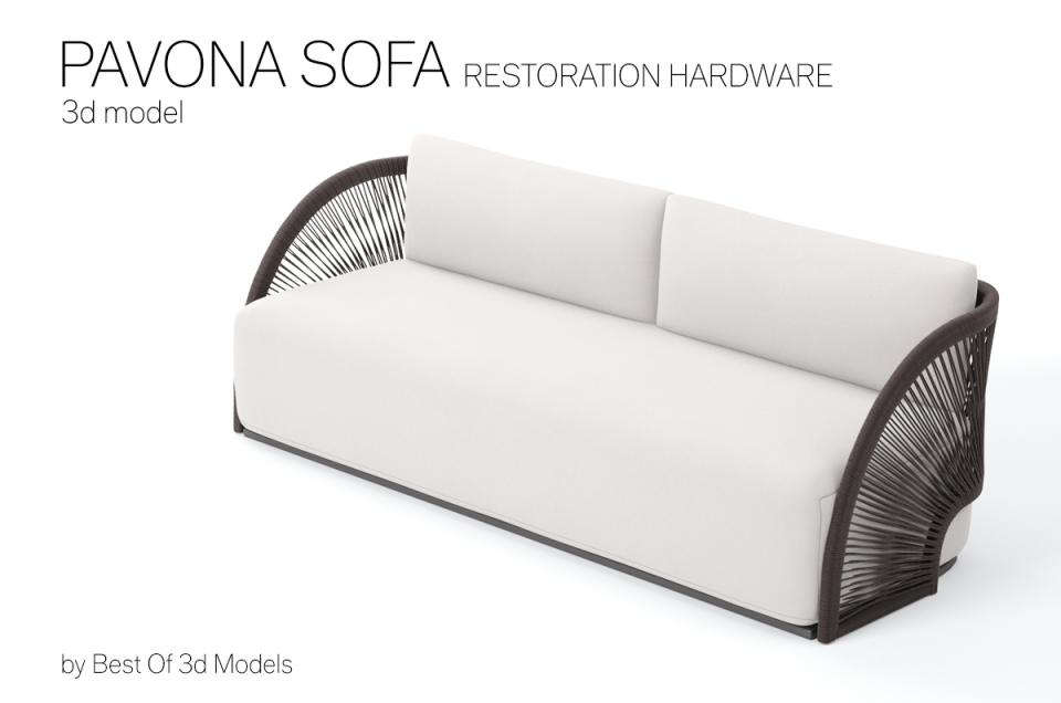 sofa with cord frame 3d model restoration hardware