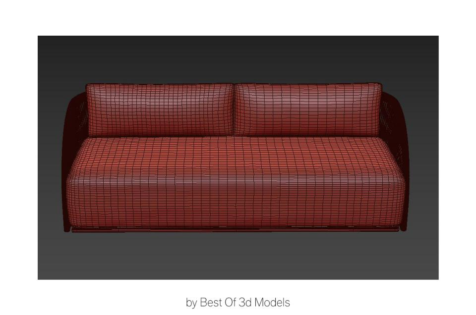 sofa with sculpted cushions 3d model restoration hardware