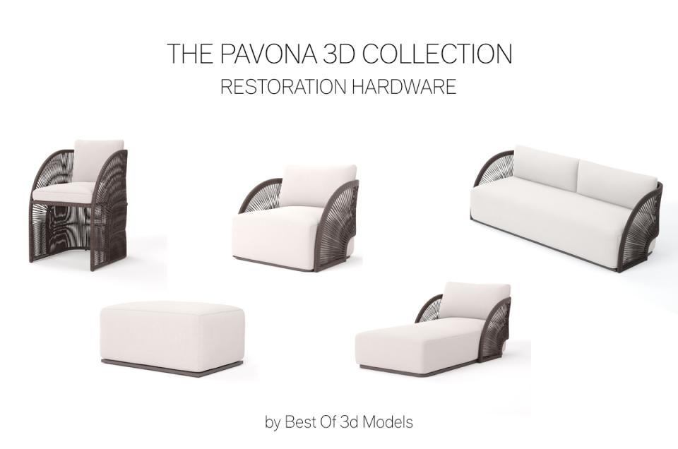 pavona furniture 3d model restoration hardware