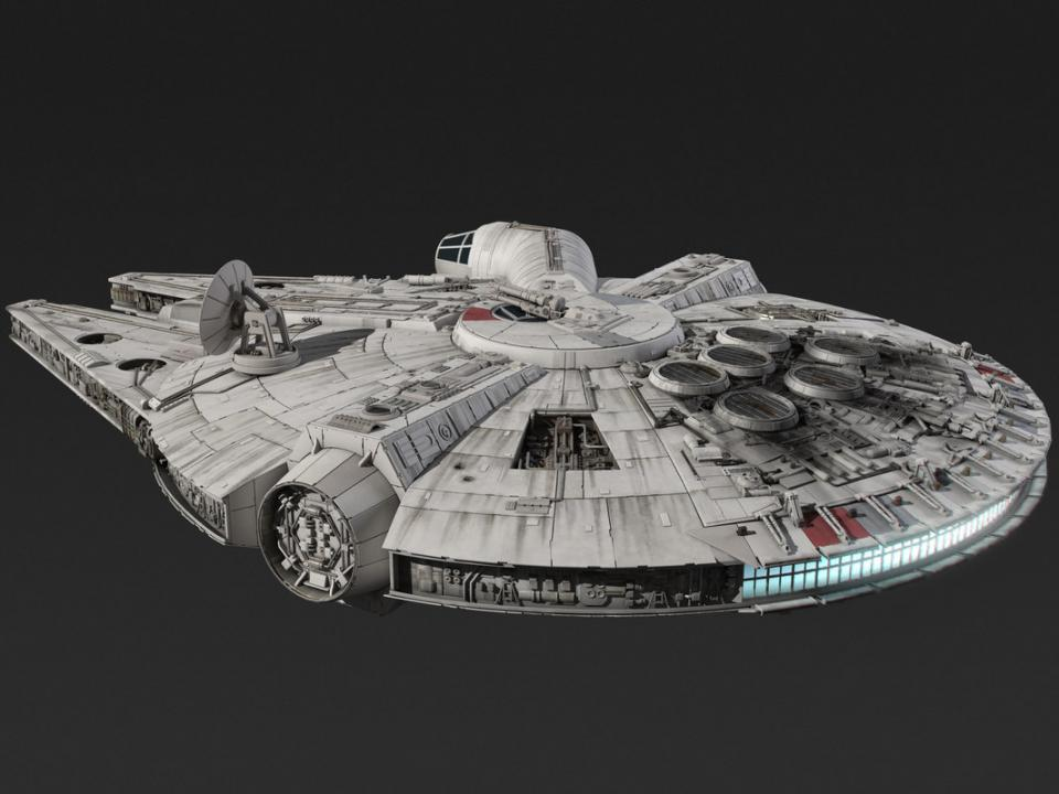 millenium falcon star wars 3d model turbosquid