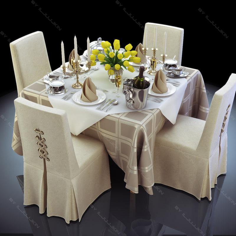 restaurant tableware 3d model turbosquid