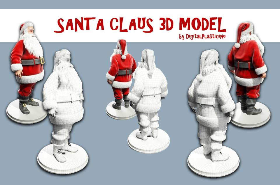 santa with red costume 3d model