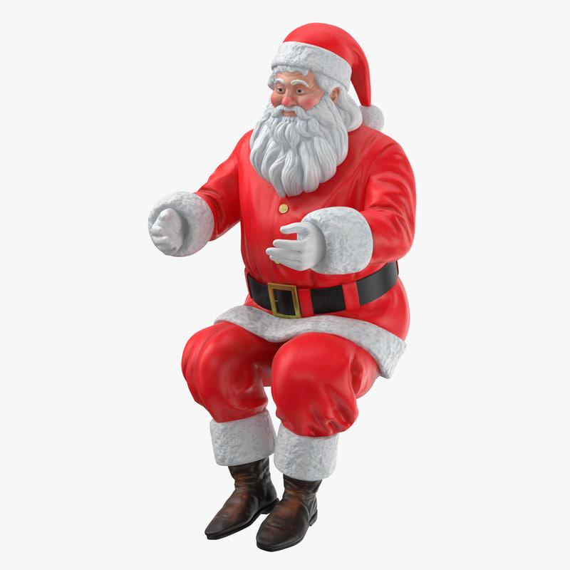 Kris Kringle sitting figurine 3d model turbosquid