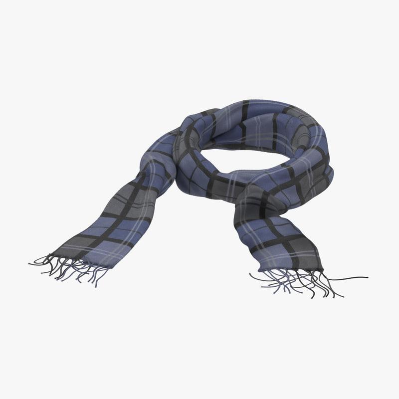 blue scarf 3d model turbosquid