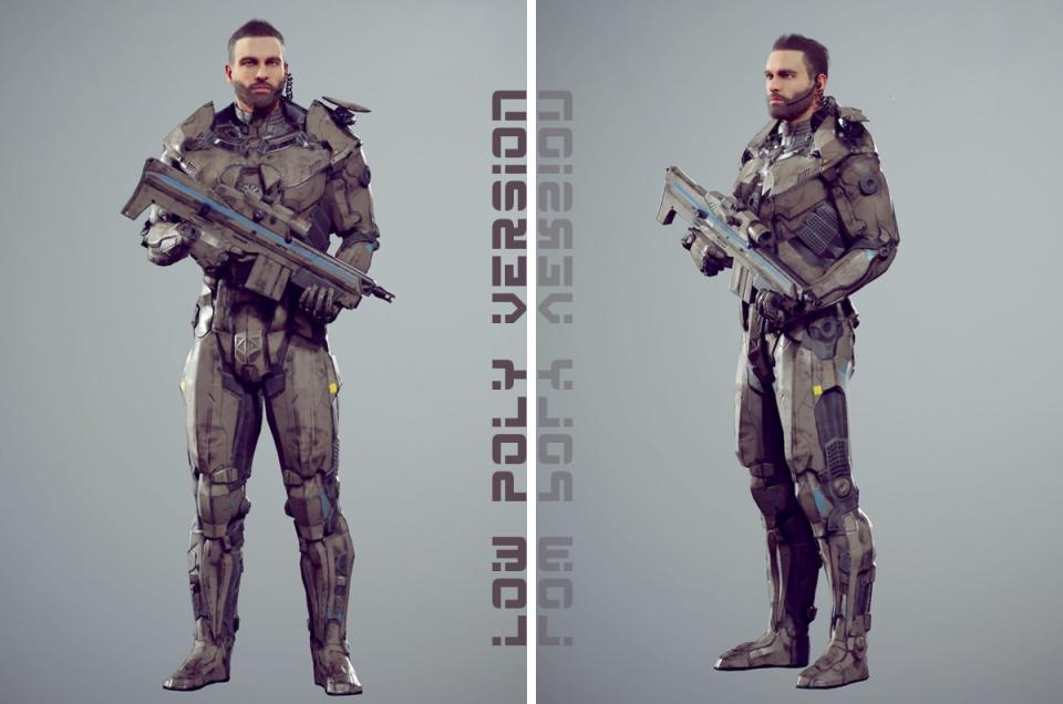 male soldier unity unreal 3d model turbosquid