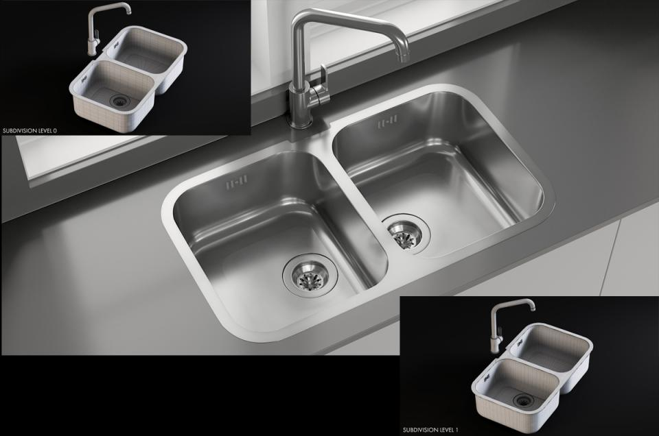 3d Sink Alba Mixer Smeg model turbosquid