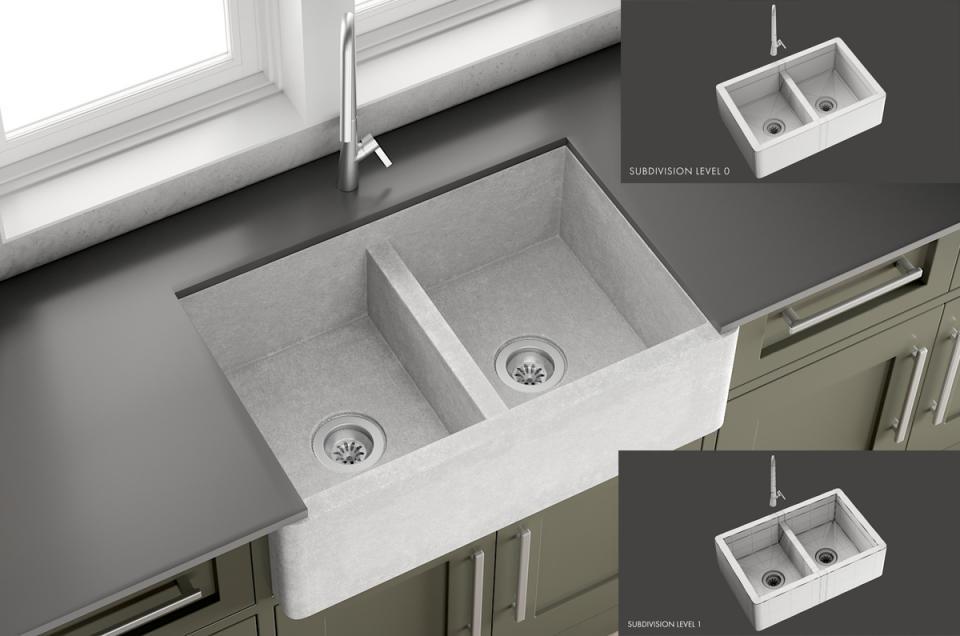 Sink Farmhouse Mixer Inox 3d model turbosquid
