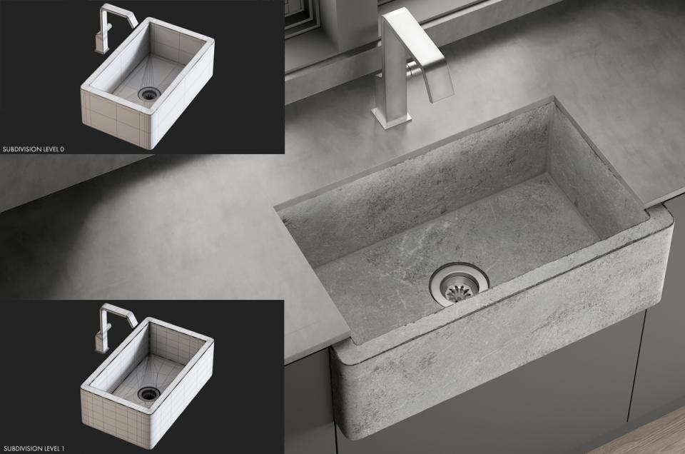Sink Farmhouse Mixer Quadrodesign 3d model turbosquid