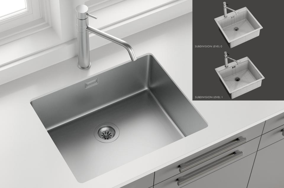 3d Sink Mira Mixer Inox turbosquid