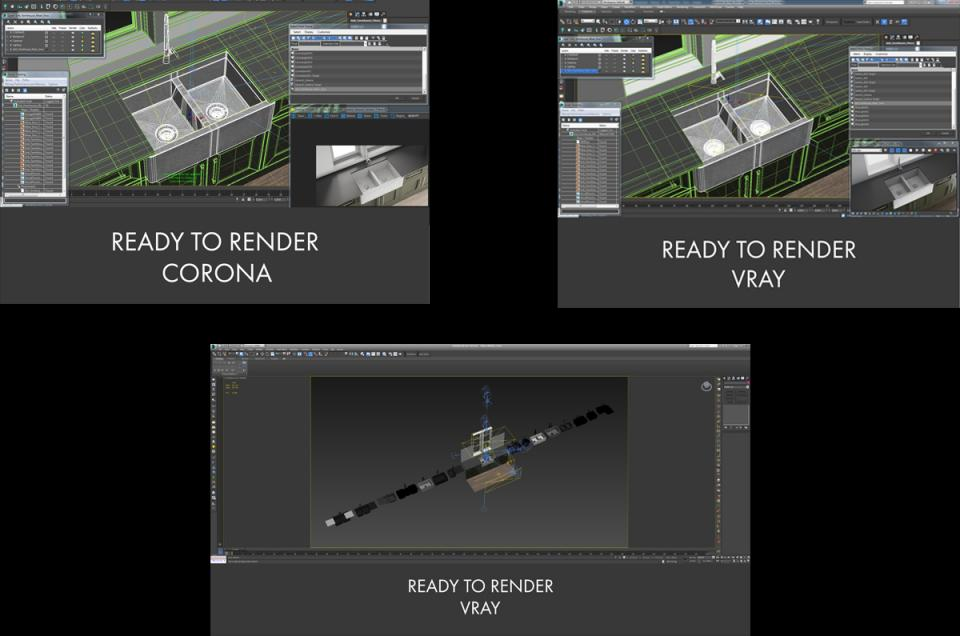 vray and corona 3d render turbosquid