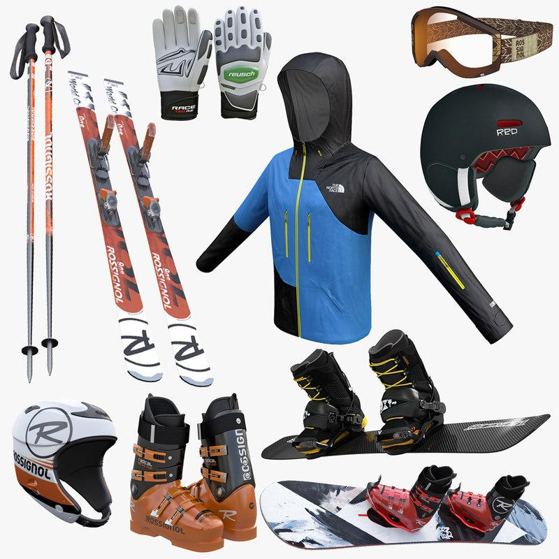ski equipment 3d model turbosquid