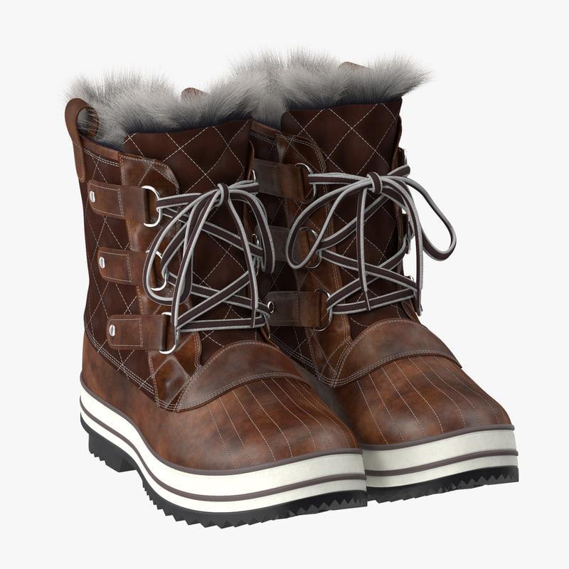 winter boots 3d model turbosquid