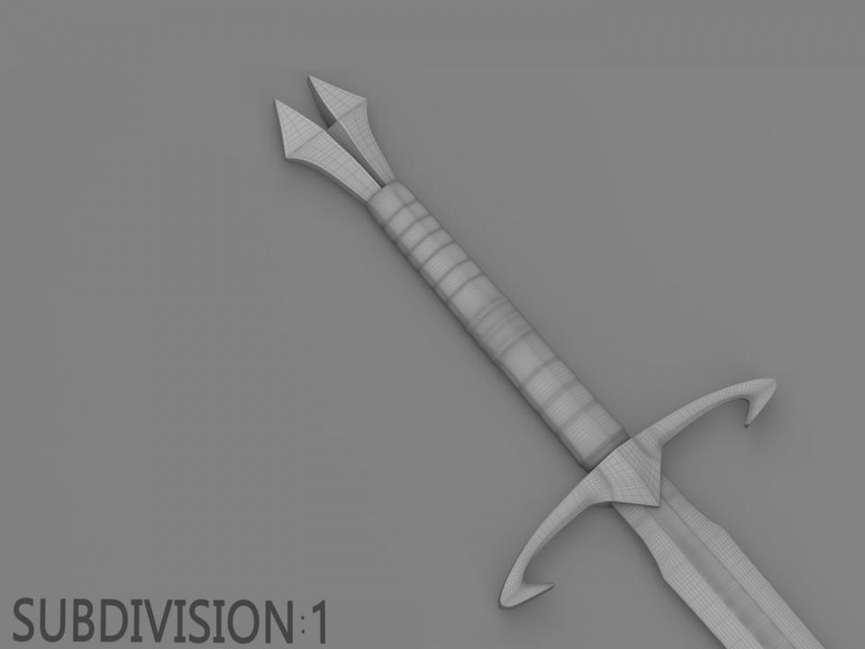two hander sword 3d model turbosquid