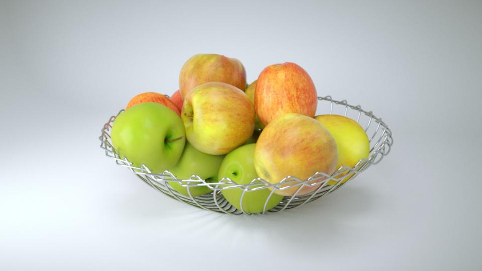 apples in a metal bowl 3d model vizpark