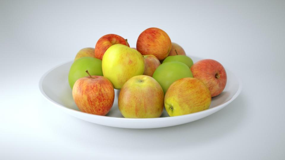 apples porcelaine plate 3d model vizpark