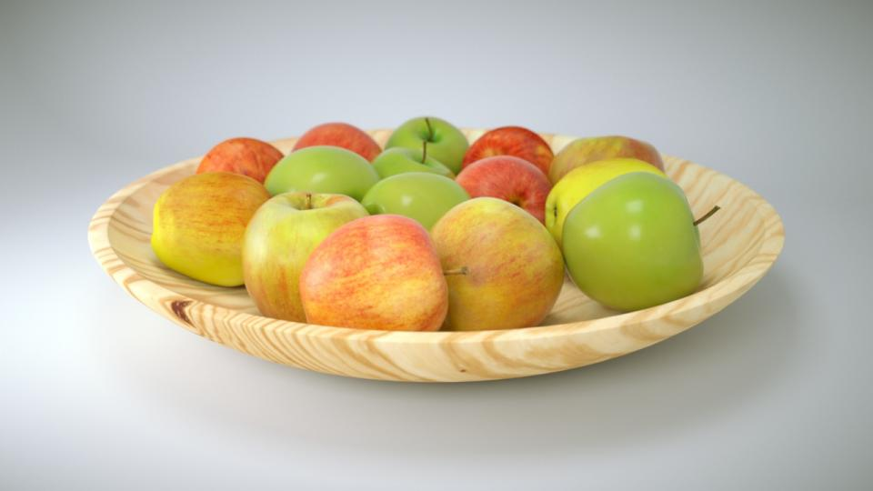 apples in a wooden plate 3d model vizpark
