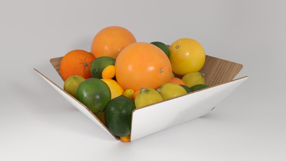 fruits in a wooden bowl 3d model vizpark