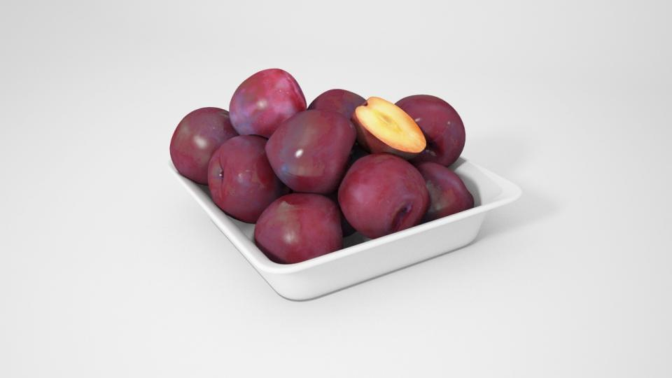 plums in a bowl 3d model vizpark collection