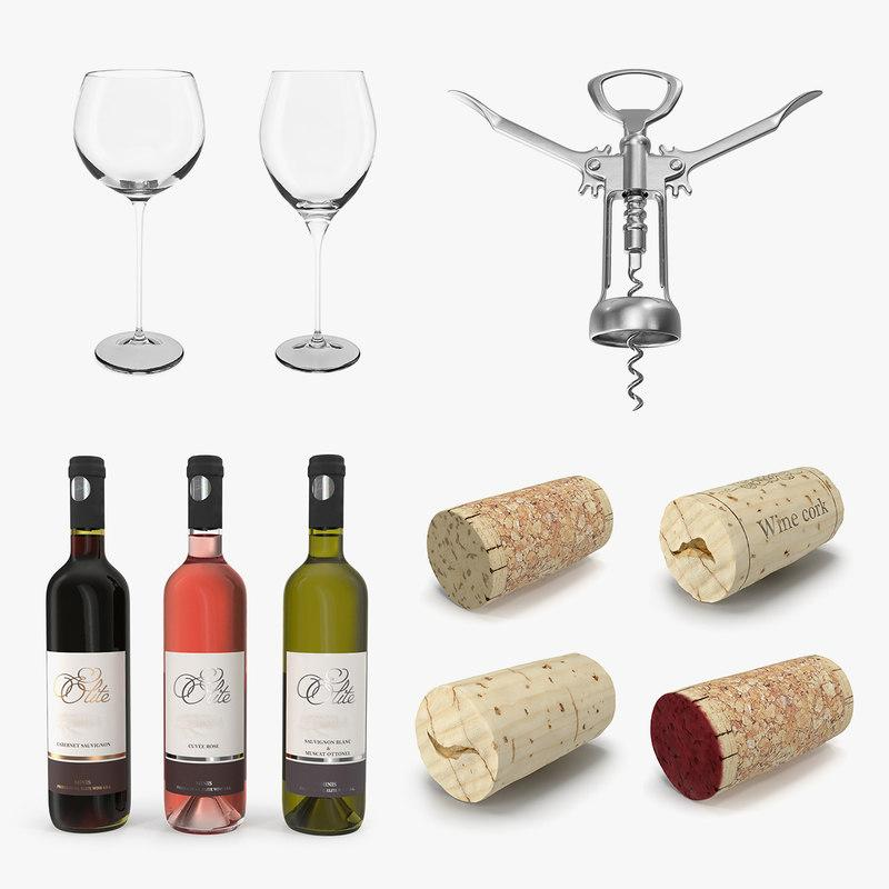 wine collection 3d model turbosquid
