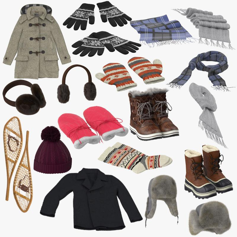 winter clothes collection 3d model turbosquid