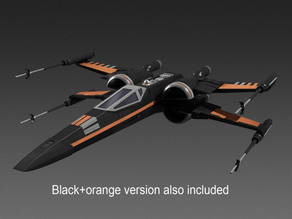 X-wing spacecraft star wars 3d model turbosquid