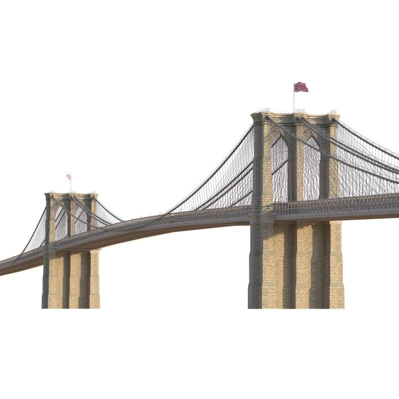 brooklyn bridge 3d model turbosquid