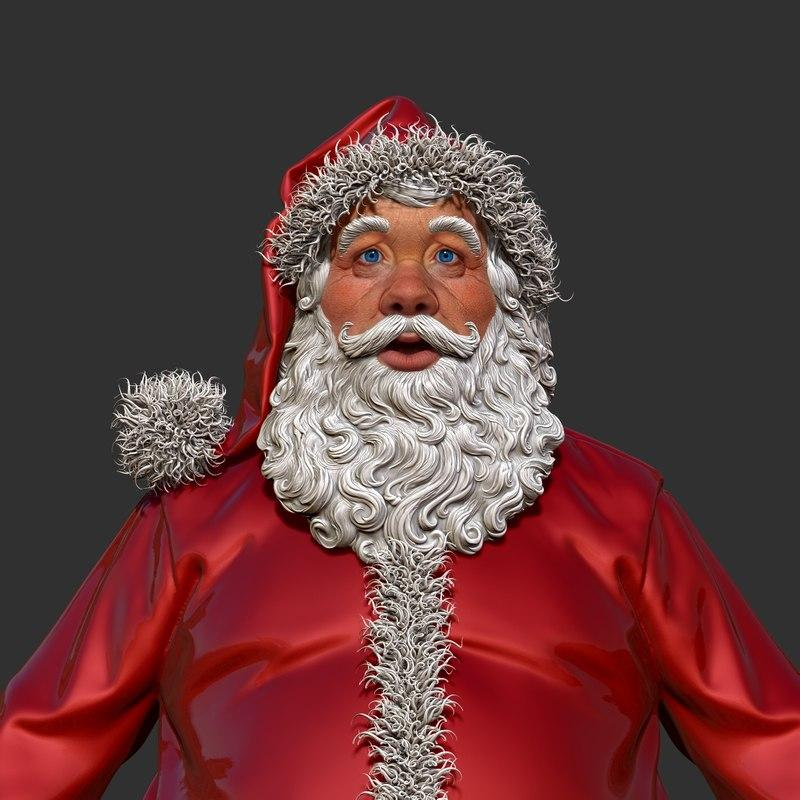 santa claus close up 3d model turbosquid