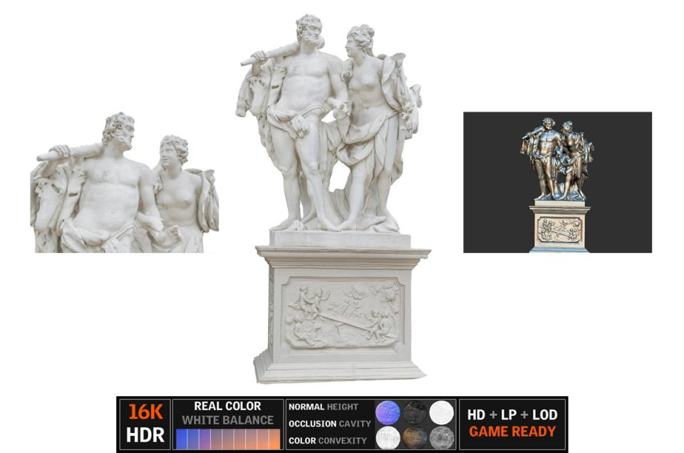 hercules statue scanned 3d model turbosquid