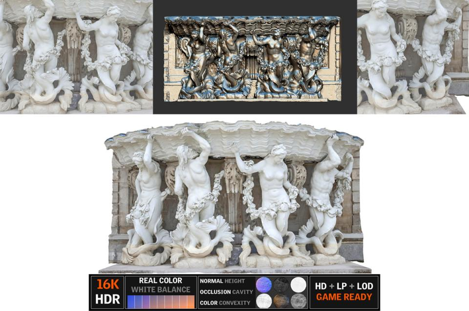 fountain belvedere statue scanned 3d model turbosquid