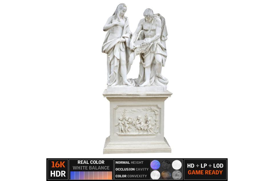 marble sculpture scanned 3d model turbosquid