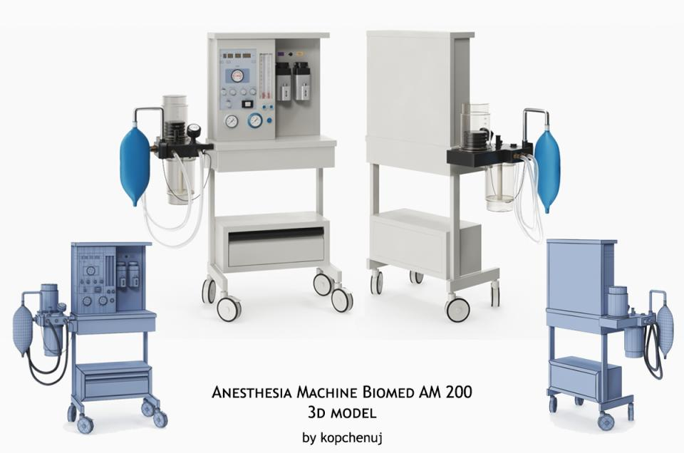 anesthesia machine biomed am 200 3d model turbosquid
