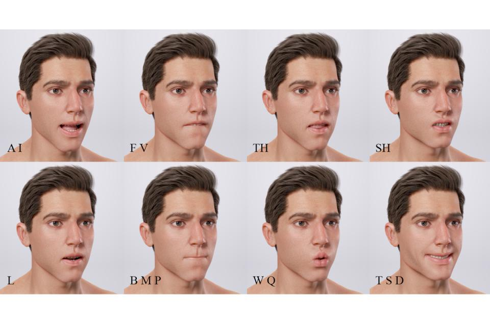 facial animation man 3d model turbosquid